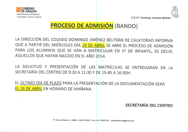 proceso admision